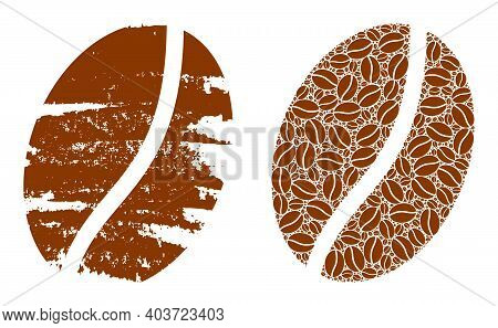 Vector Coffee Bean Collage Is Composed From Random Recursive Coffee Bean Elements. Textured Coffee B