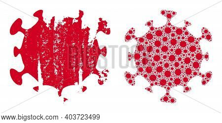 Vector Covid Virus Fractal Is Formed Of Scattered Fractal Covid Virus Parts. Distress Covid Virus Ic
