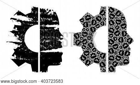 Vector Cyborg Head Fractal Is Created Of Randomized Fractal Cyborg Head Parts. Textured Cyborg Head