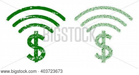 Vector Dollar Emission Fractal Is Composed With Scattered Itself Dollar Emission Icons. Scratched Do