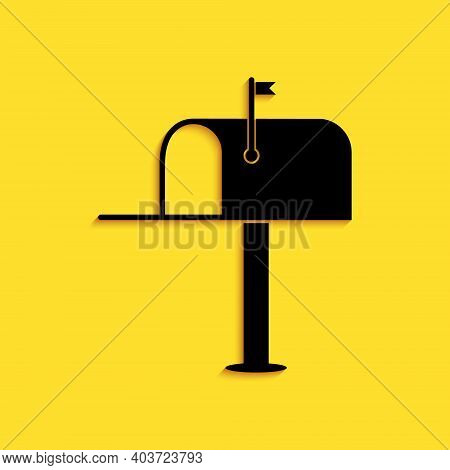 Black Open Mail Box Icon Isolated On Yellow Background. Mailbox Icon. Mail Postbox On Pole With Flag