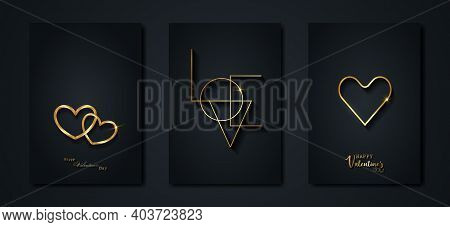 Happy Valentines Day Vector Set Greeting Card. Gold Heart On Black Background. Golden Holiday Poster