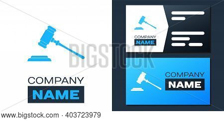 Logotype Judge Gavel Icon Isolated On White Background. Gavel For Adjudication Of Sentences And Bill