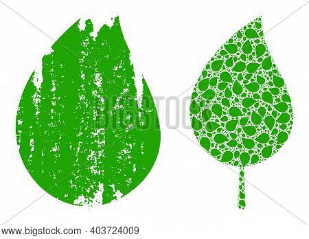 Vector Floral Leaf Fractal Is Constructed Of Scattered Fractal Floral Leaf Parts. Distress Floral Le