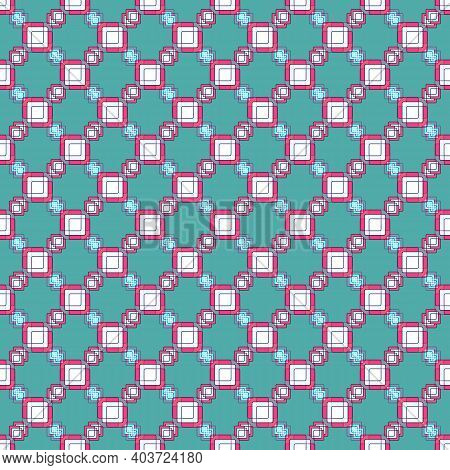 Bright Seamless Diagonal Pattern Of Pink And White Squares On A Turquoise Background.