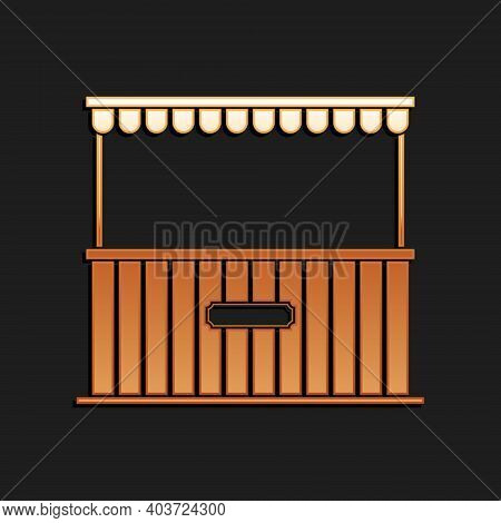 Gold Street Stall With Awning And Wooden Rack Icon Isolated On Black Background. Kiosk With Wooden R