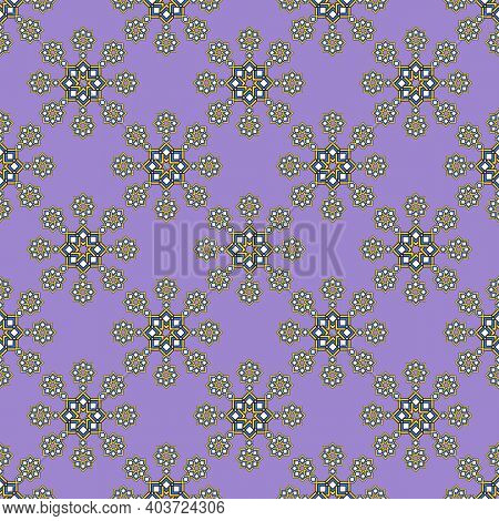 Seamless Pattern, Abstract Stars From Rhombuses, Lilac Background.