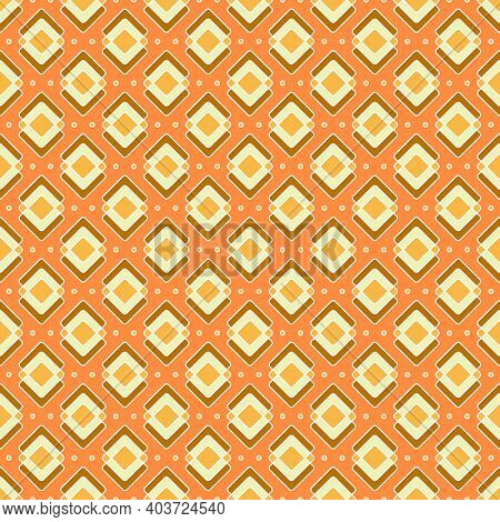 Rhombuses Seamless Pattern In Yellow-orange Colors. Bright Geometric Print With Orange Background.
