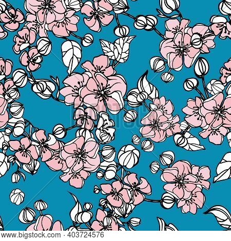 Simple Vintage Pattern. Blu Background, White An Pink Ornament Of Their Flowers And Leaves. The Prin