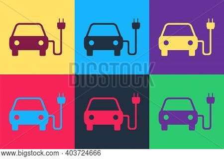 Pop Art Electric Car And Electrical Cable Plug Charging Icon Isolated On Color Background. Electric