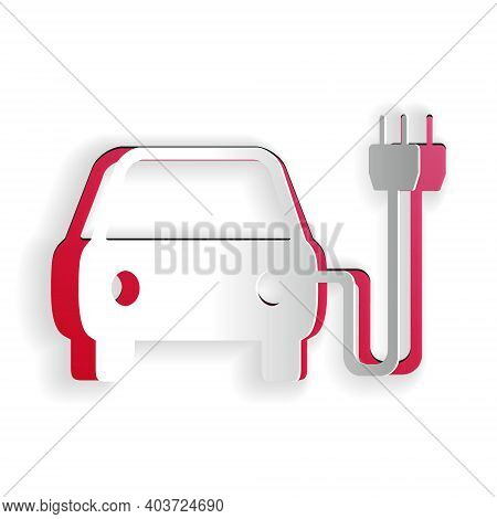 Paper Cut Electric Car And Electrical Cable Plug Charging Icon Isolated On White Background. Electri