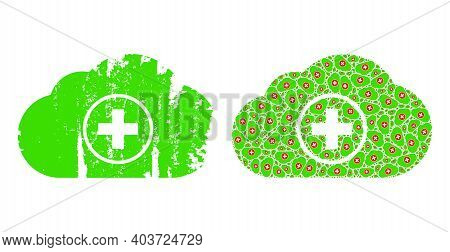 Vector Medical Cloud Fractal Is Designed From Repeating Fractal Medical Cloud Elements. Scratched Me