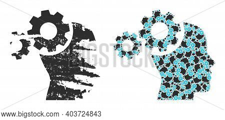 Vector Mind Gears Composition Is Made Of Repeating Fractal Mind Gears Parts. Rough Mind Gears Icon.