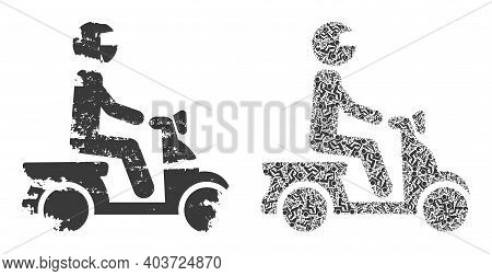 Vector Motorbike Driver Mosaic Is Composed With Scattered Fractal Motorbike Driver Items. Scratched
