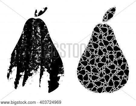 Vector Pear Fractal Is Created Of Random Fractal Pear Elements. Distress Pear Icon. Fractal Composit