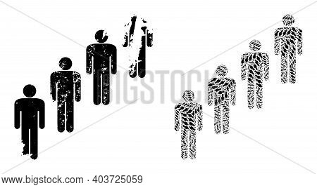 Vector People Queue Fractal Is Made From Scattered Recursive People Queue Pictograms. Rough People Q