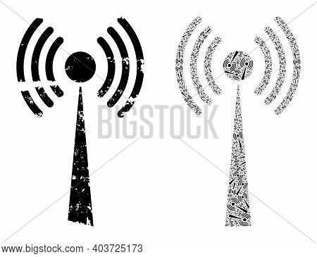 Vector Radio Tower Collage Is Made From Randomized Fractal Radio Tower Items. Distress Radio Tower I