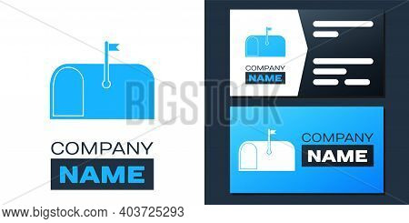 Logotype Mail Box Icon Isolated On White Background. Mailbox Icon. Mail Postbox On Pole With Flag. L