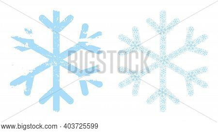 Vector Snowflake Fractal Is Designed From Repeating Fractal Snowflake Elements. Rough Snowflake Icon