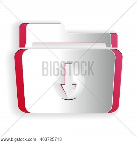 Paper Cut Folder Download Icon Isolated On White Background. Paper Art Style. Vector