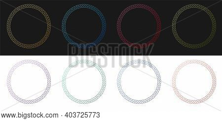Set Rope Frame Icon Isolated On Black And White Background. Frames From Nautical Rope. Round Marine