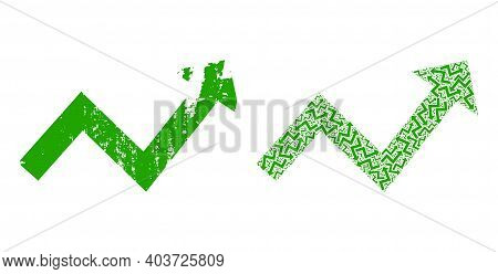 Vector Trend Up Arrow Fractal Is Formed With Random Recursive Trend Up Arrow Items. Scratched Trend