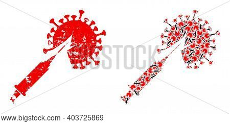 Vector Virus Vaccine Injection Collage Is Done From Scattered Recursive Virus Vaccine Injection Pict