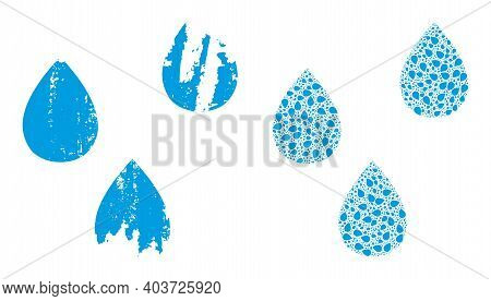 Vector Water Drops Collage Is Formed From Randomized Recursive Water Drops Elements. Rough Water Dro