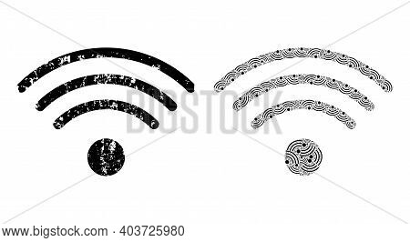 Vector Wi-fi Source Composition Is Composed With Scattered Fractal Wi-fi Source Parts. Grunge Wi-fi