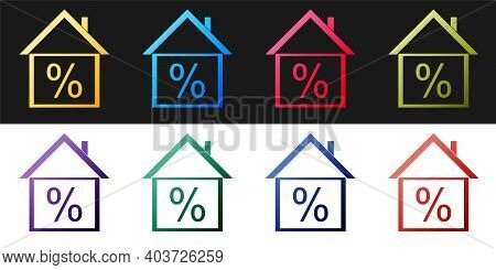 Set House With Discount Tag Icon Isolated On Black And White Background. House Percentage Sign Price