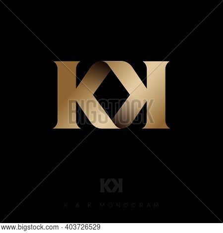 K And K Gold Letters. Double K Monogram. Logo Can Used For Business, Company, Clothes, Jewelry, Prem