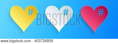 Paper Cut The Hash Love Icon. Hashtag Heart Symbol Icon Isolated On Blue Background. Paper Art Style