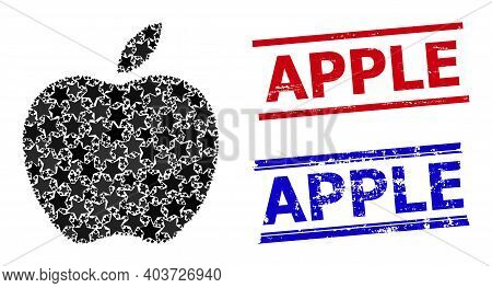 Apple Star Mosaic And Grunge Apple Seals. Red And Blue Seals With Grunge Texture And Apple Caption.
