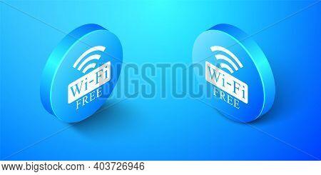 Isometric Free Wi-fi Icon Isolated On Blue Background. Wi-fi Symbol. Wireless Network Icon. Wi-fi Zo