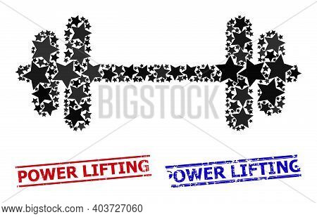 Barbell Star Pattern And Grunge Power Lifting Seal Stamps. Red And Blue Stamps With Grunge Surface A