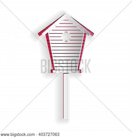 Paper Cut Bird House Icon Isolated On White Background. Nesting Box Birdhouse, Homemade Building For