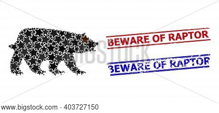 Bear Star Mosaic And Grunge Beware Of Raptor Seal Stamps. Red And Blue Imprints With Unclean Texture