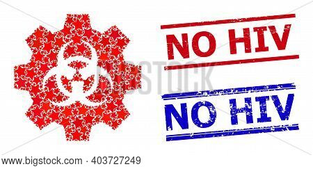 Biohazard Industry Star Mosaic And Grunge No Hiv Stamps. Red And Blue Stamps With Grunge Style And N