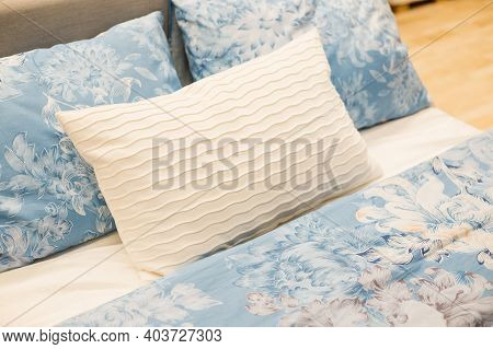 Modern Bed And Pillows In The Morning Mood.comfortable Bed With Soft Blanket And Pillows Indoors.sid