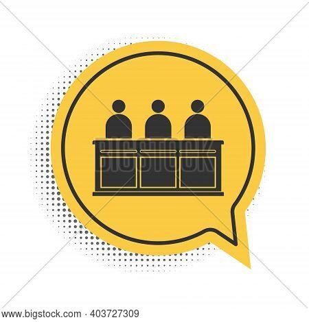 Black Jurors Icon Isolated On White Background. Yellow Speech Bubble Symbol. Vector