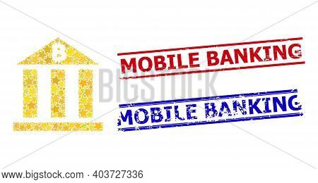 Bitcoin Bank Star Mosaic And Grunge Mobile Banking Seal Stamps. Red And Blue Stamps With Grunge Text