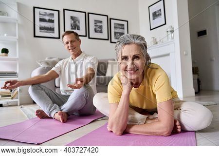 Happy Fit Middle Aged Woman Exercising With Husband At Home, Portrait. Smiling Healthy Old Senior 60