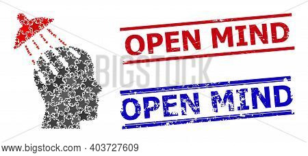 Brainwashing Star Pattern And Grunge Open Mind Seal Stamps. Red And Blue Stamps With Grunge Style An