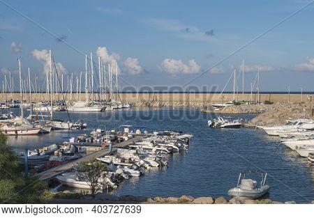 Santa Maria Navarrese, Sardinia, Italy, September 12, 2020: View Of Marina Port Of Santa Maria Navar