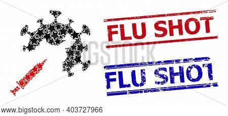 Coronavirus Vaccine Injection Star Pattern And Grunge Flu Shot Stamps. Red And Blue Stamps With Rubb