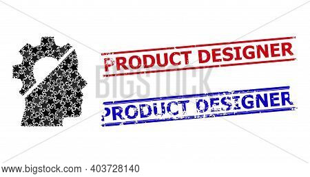 Cyborg Gear Star Mosaic And Grunge Product Designer Seal Stamps. Red And Blue Stamps With Unclean Te