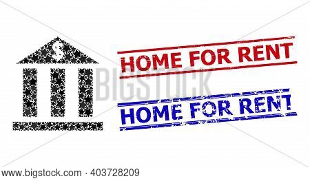 Dollar Bank Star Pattern And Grunge Home For Rent Seals. Red And Blue Seals With Grunge Style And Ho