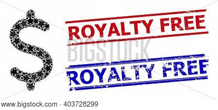 Dollar Symbol Star Mosaic And Grunge Royalty Free Seals. Red And Blue Stamps With Grunge Style And R