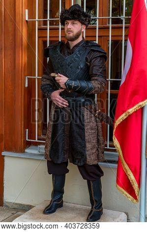Bursa, Turkey - 10 December 2020: Sentry Janissary In The Tomb Of Osman Gazi