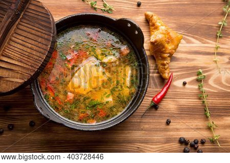Hot Fish Broth, Fish Soup. Soup With Vegetables And Salmon, Fish. Concept - A Menu For A Cafe. Hot D